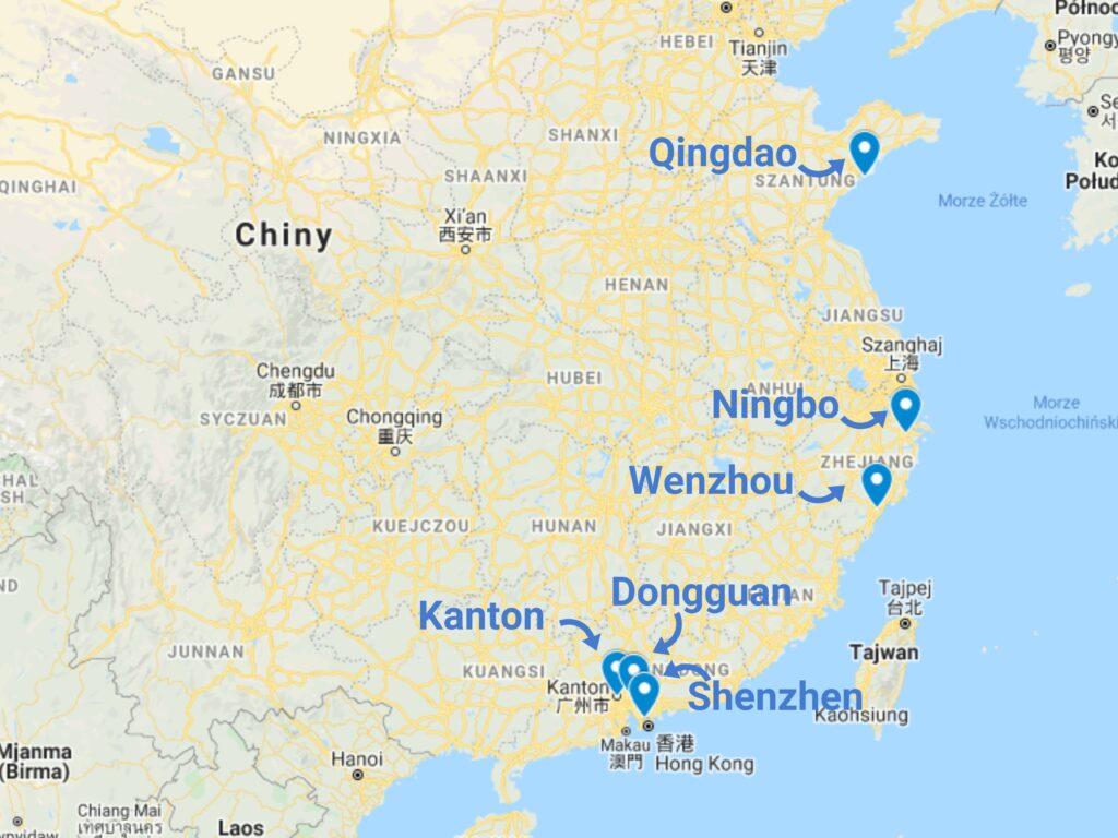 Części samochodowe z Chin mapa