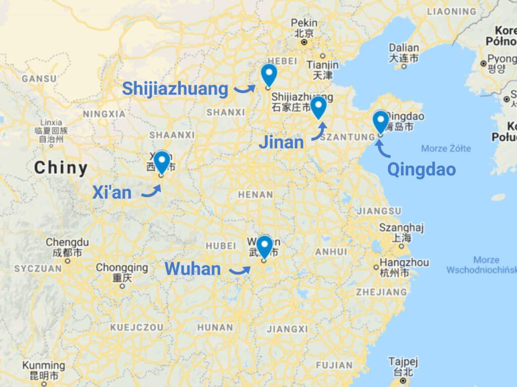 Odczynniki chemiczne z Chin - mapa zagłębi
