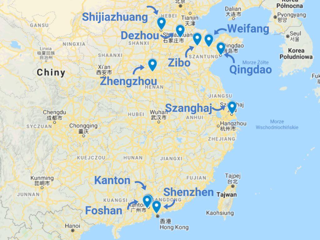 Cło na produkty chemiczne z Chin - mapa
