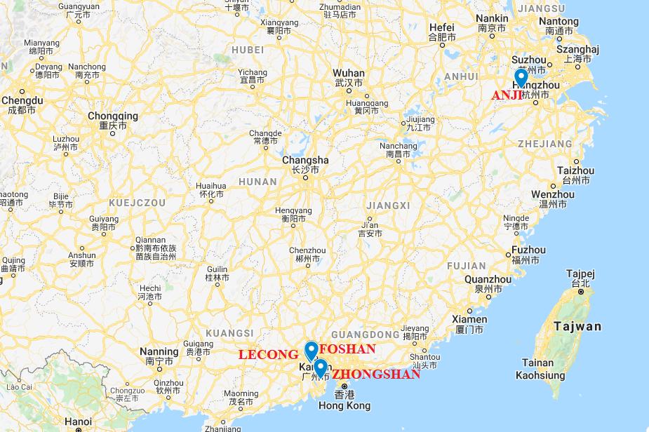 Import mebli z Chin - mapa