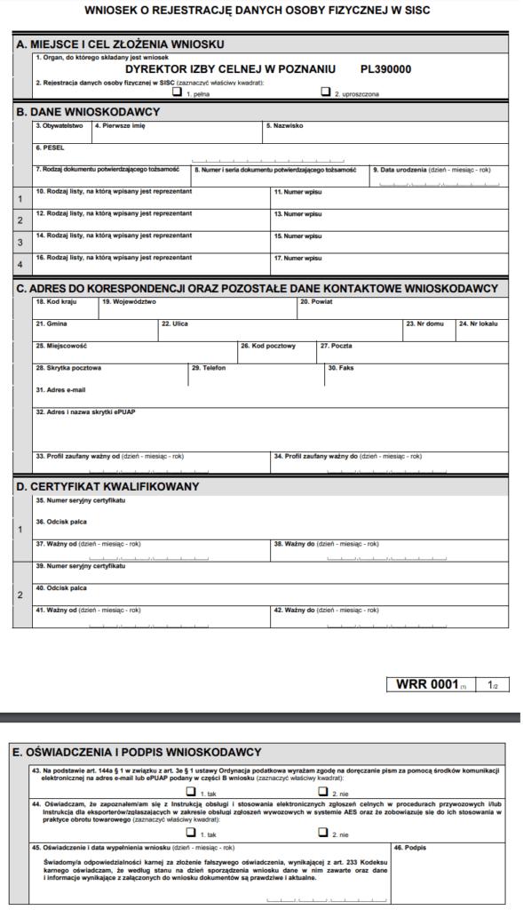 Wniosek o rejestrację danych osoby fizycznej w SISC