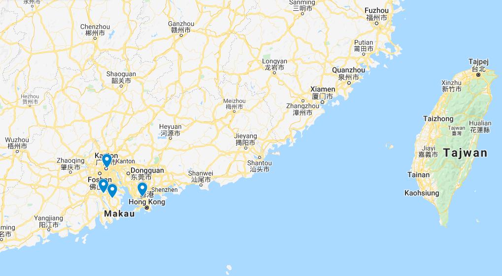 Import oświetlenia LED z Chin - mapa