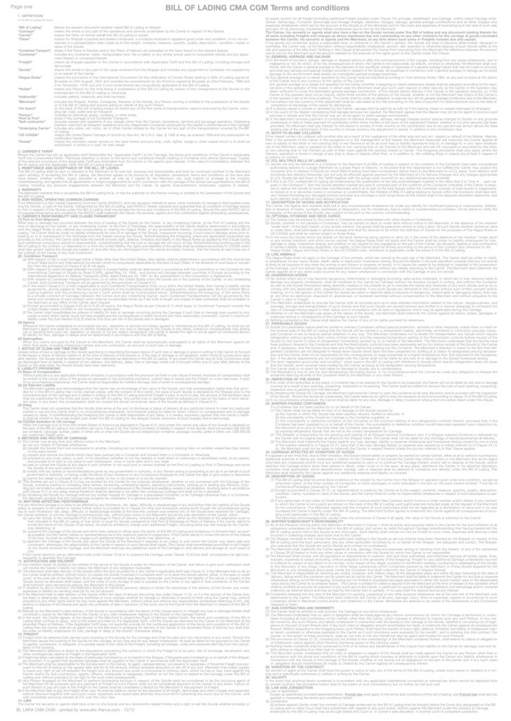 Konosament rewers bill of lading
