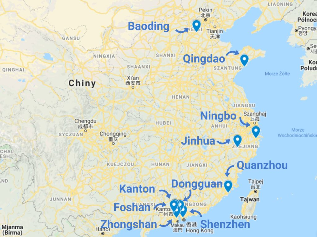 Import home decor z Chin mapa