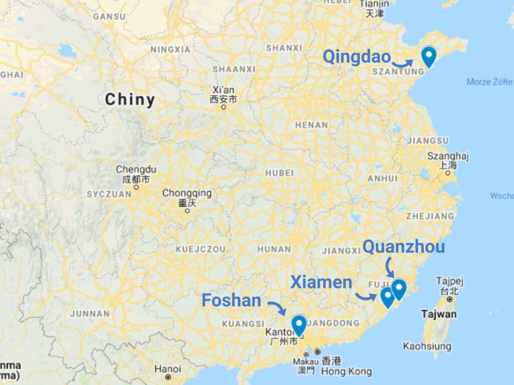 Kamień do nagrobków z Chin - mapa