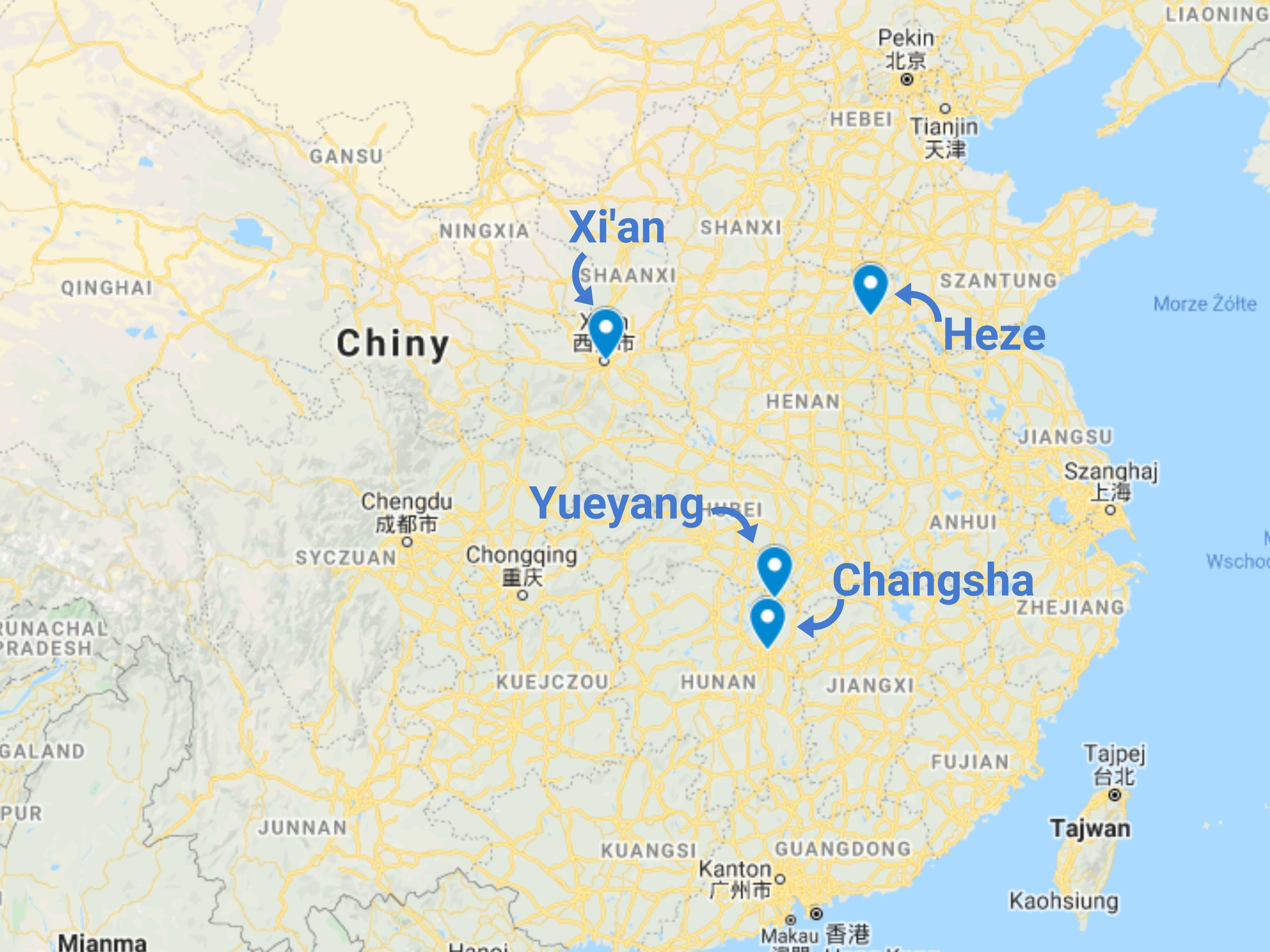 Import herbaty z Chin - mapa