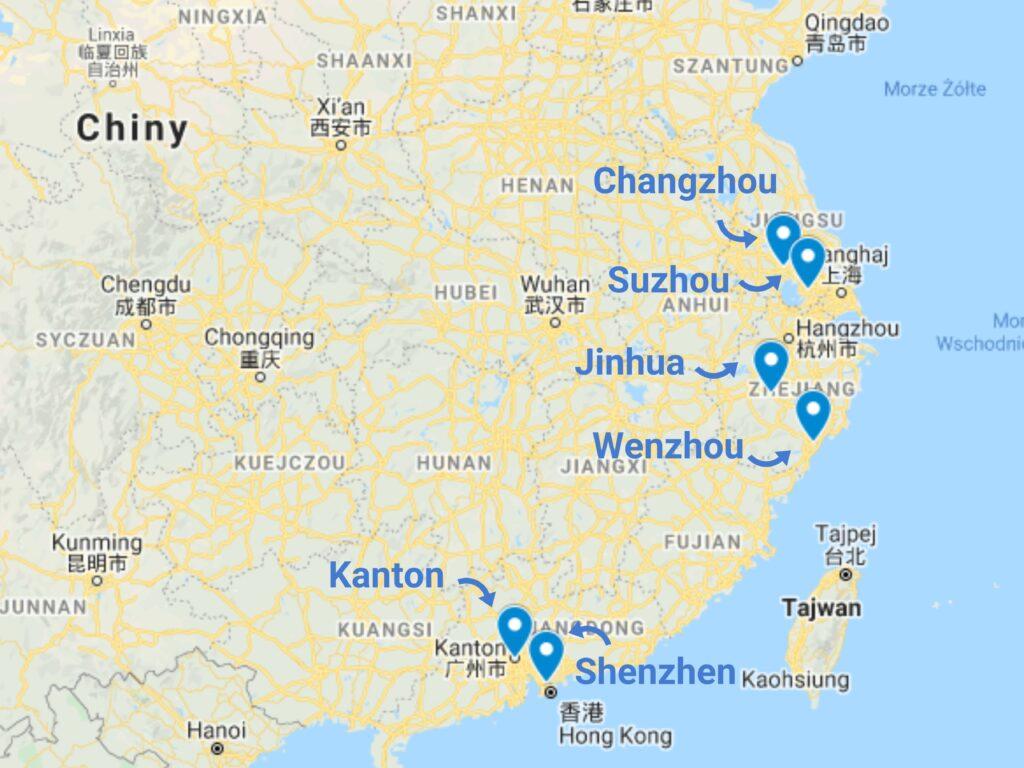 Import pojazdów elektrycznych z Chin - mapa