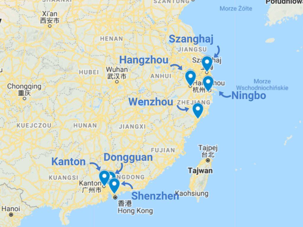 Sprzęt smart home z Chin - mapa zagłębi