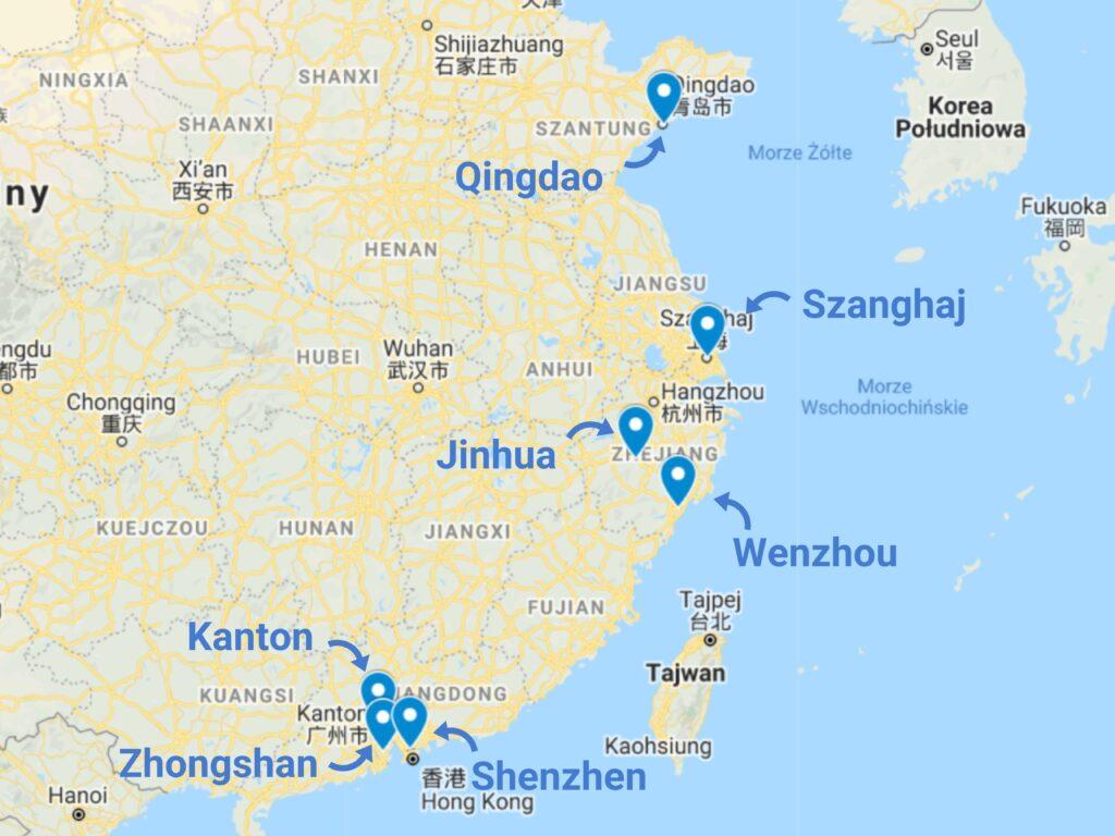 Zabawki ogrodowe z Chin - mapa zagłębi