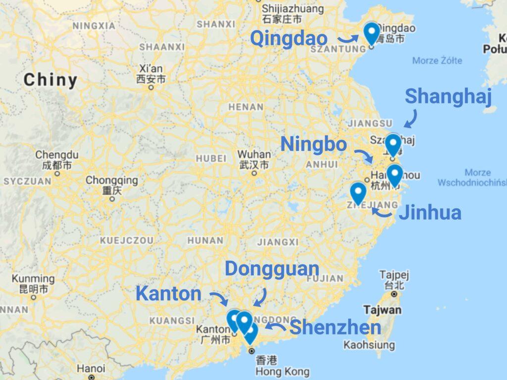 Import produktów z branży beauty z Chin - mapa zagłębi
