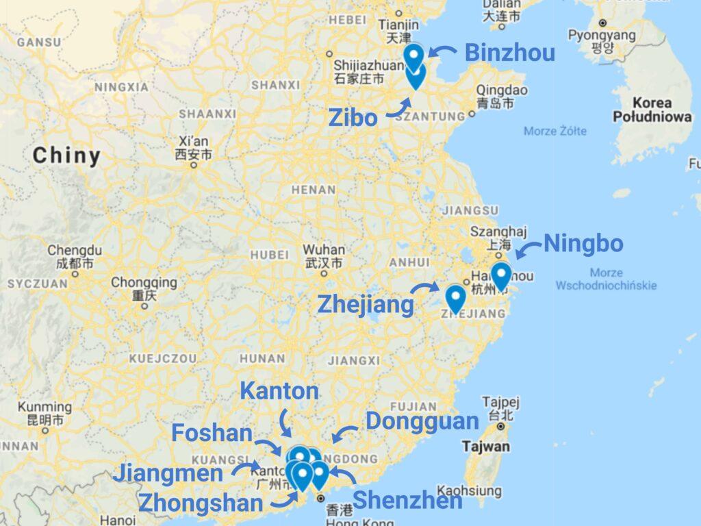 Import akcesoriów kuchennych z Chin mapa zagłębi