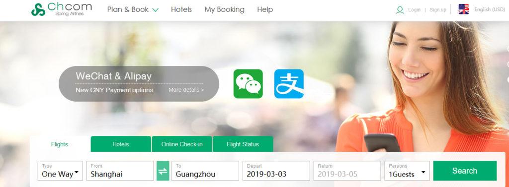 Jak zarezerwować loty w Chinach Spring Airlines