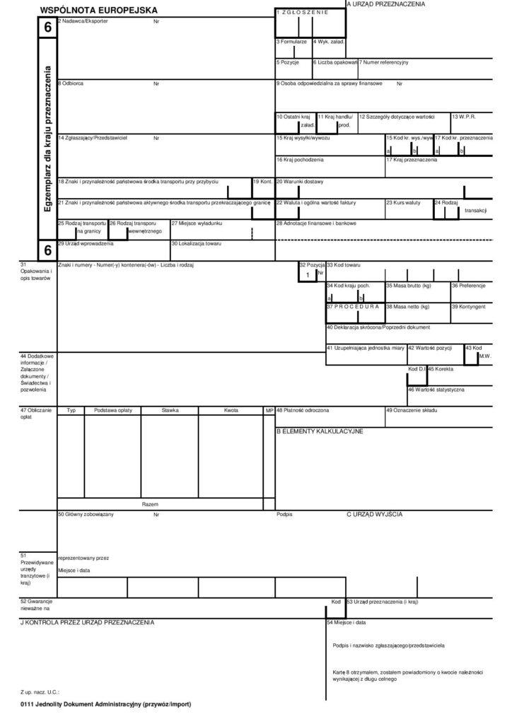 Formularz SAD karta 6