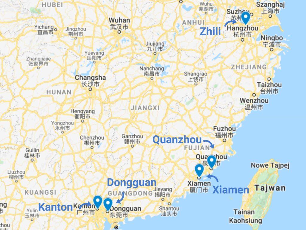 Import ubranek dla dzieci z Chin - mapa zagłębi