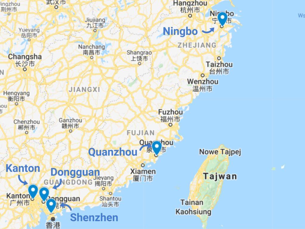 Import akcesoriów kempingowych z Chin - mapa