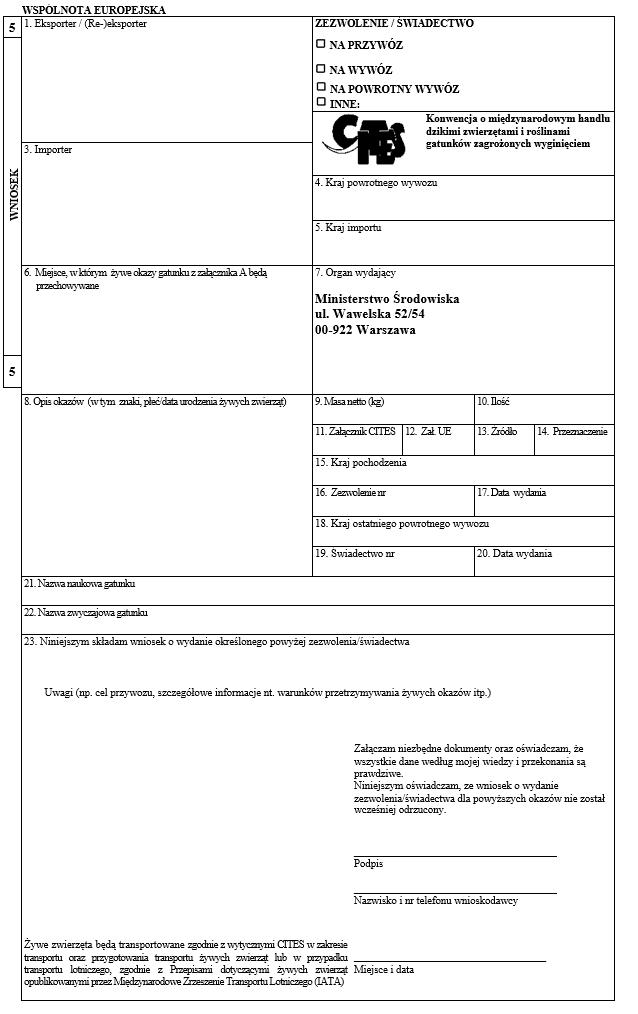 Wniosek o wydanie zezwolenia