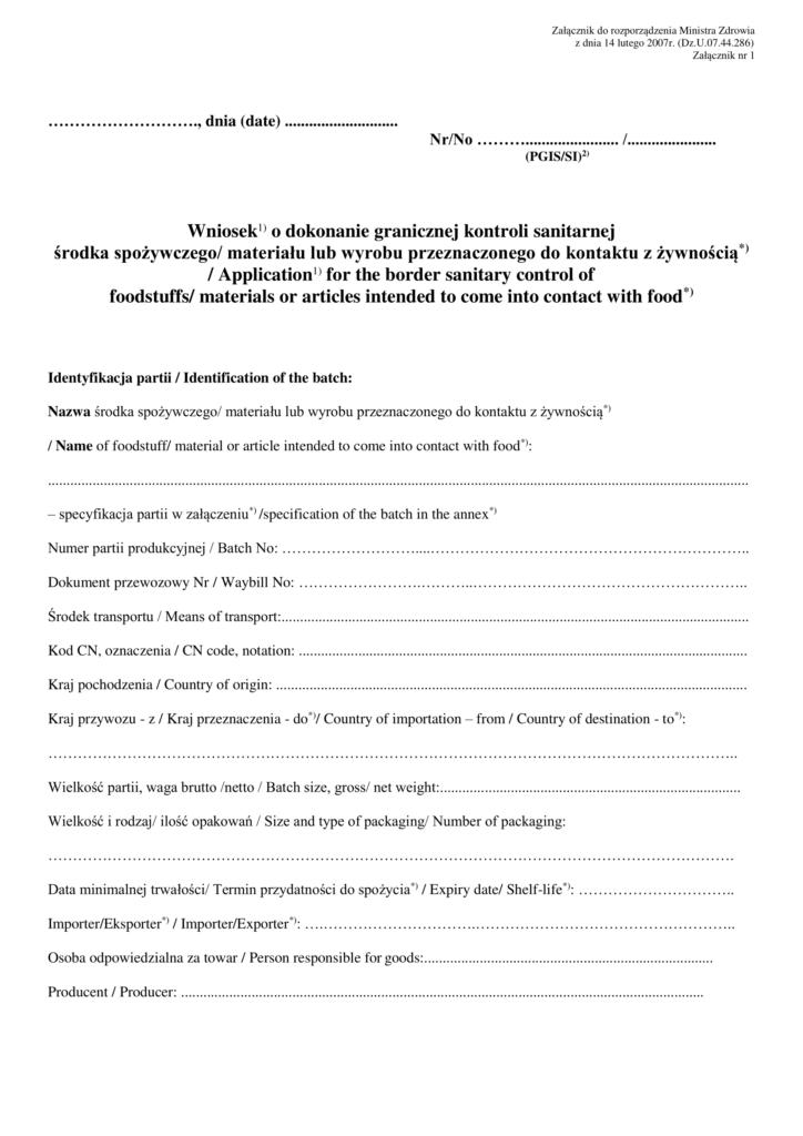 Wniosek o przeprowadzenie kontroli sanitarnej towaru