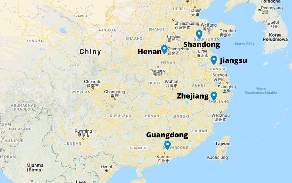 Regiony produkcyjne klimatyzatorów w Chinach