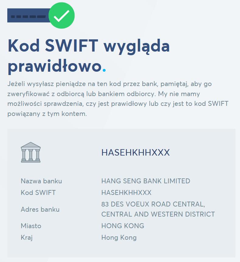 Sprawdzanie kodu SWIFT