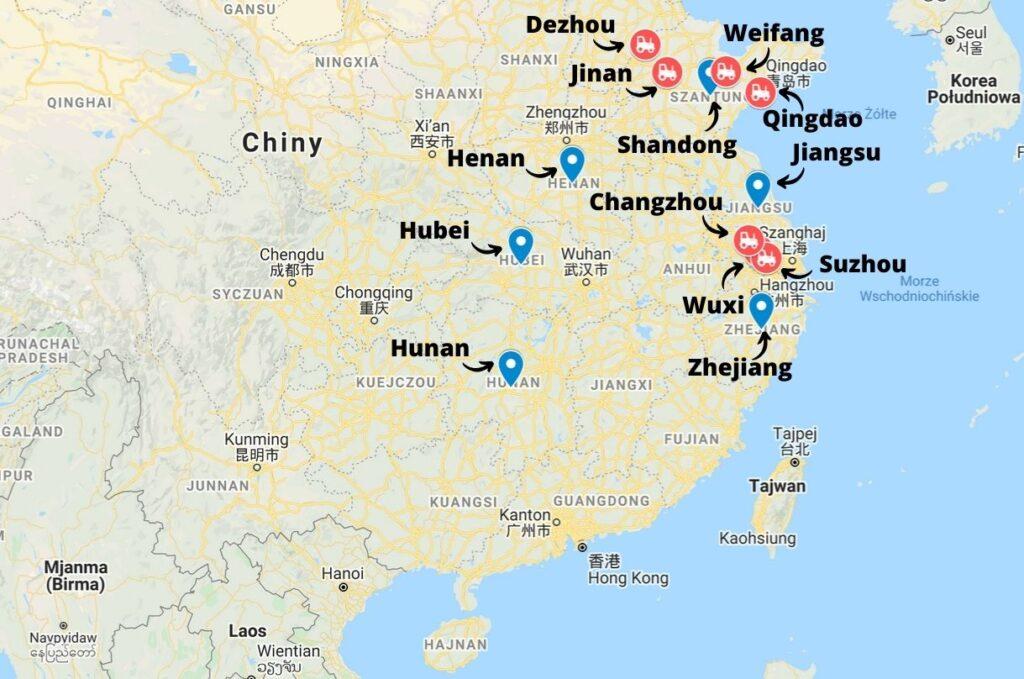 Zagłębia produkcyjne maszyn rolniczych w Chinach