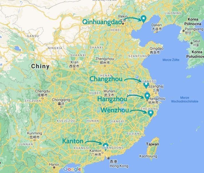 artykuły szklane z Chin - mapa