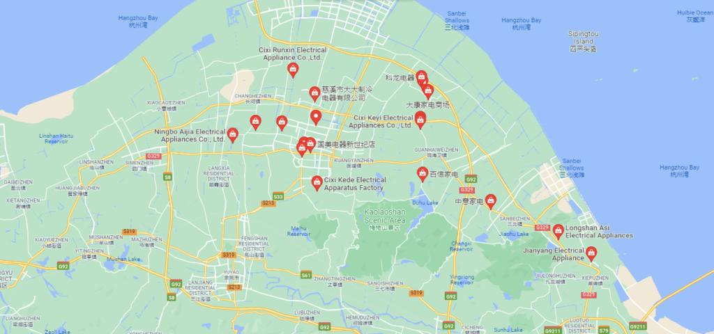 Region produkcji małego AGD w Chinach Cixi hurtownie