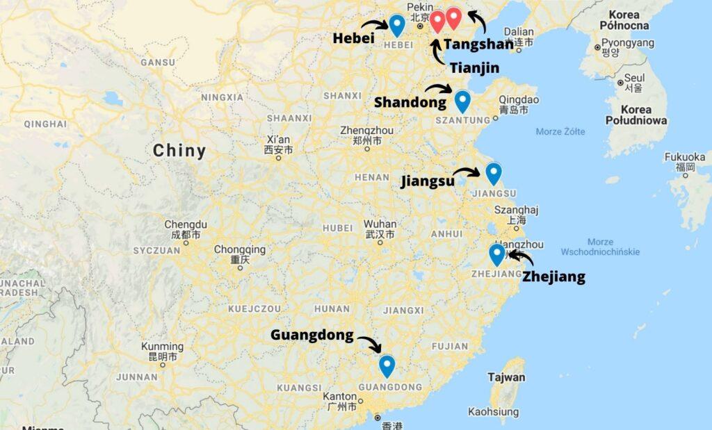 Zagłębia produkcyjne stali w Chinach